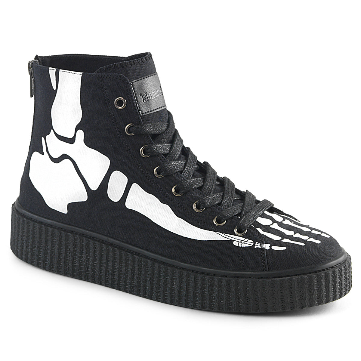 "1 1/2"" PF Round Toe Lace-Up Front High Top Creeper Sneaker,"