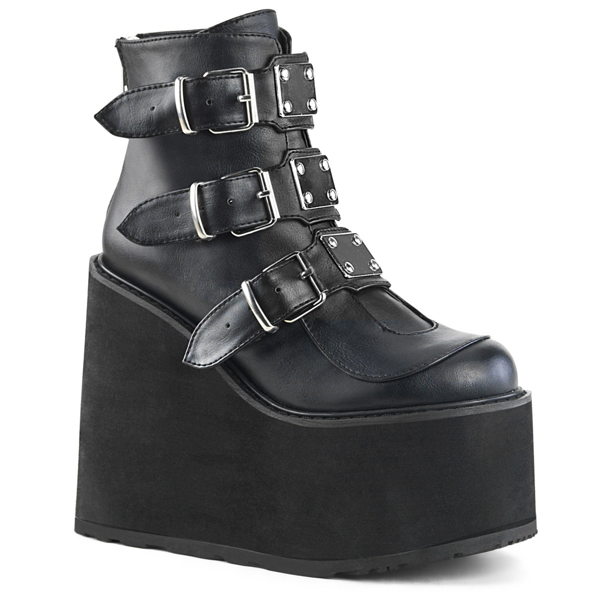 "5 1/2"" PF Ankle Boot w/ 3 Buckle Straps, Back Zip"