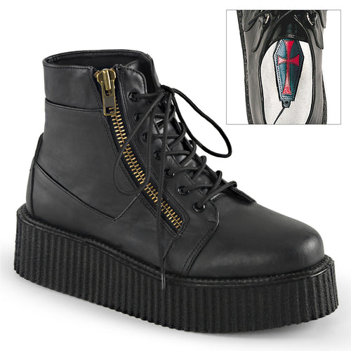 "2"" PF Lace-Up Creeper Bootie w/Exposed Zipper Detail"