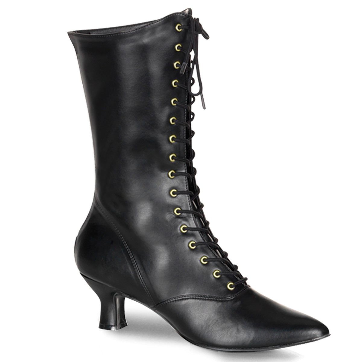 "2 3/4"" Heel Front Lace Up Mid Calf Boot w/Inner Side Zip"