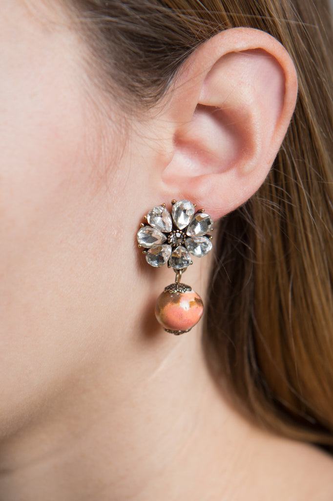 PEACH MARBLE DROP EARRINGS