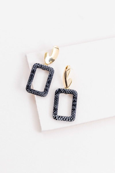 BLACK FAUX SNAKE PRINT EARRINGS