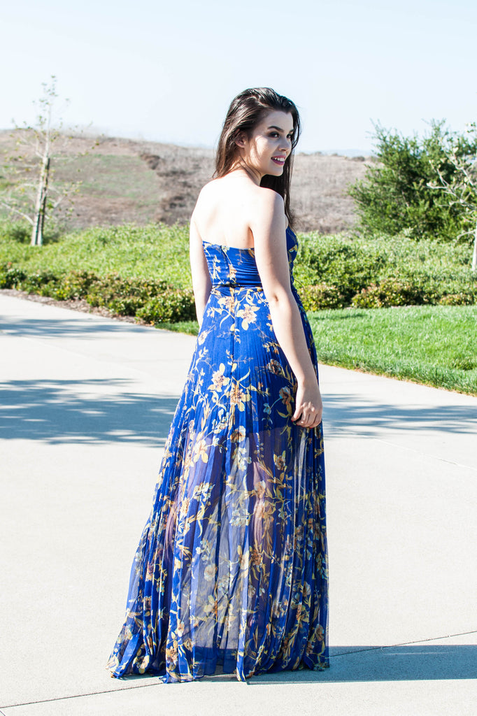 GO WILD ROYAL BLUE FLORAL STRAPLESS DRESS