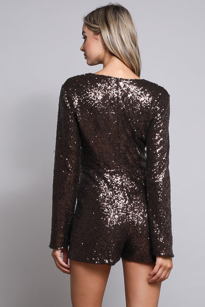 V-NECK SEQUIN CHOCOLATE ROMPER