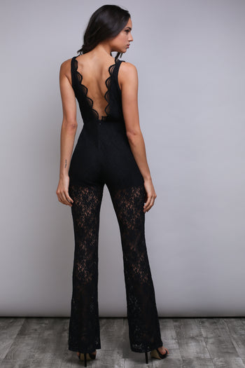 GOOD TIMES BLACK LACE JUMPSUIT