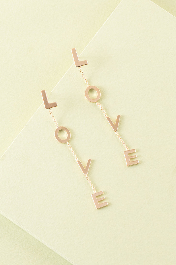 LOVE SIGN DROP EARRINGS