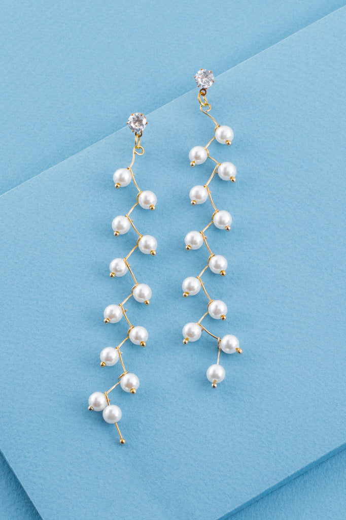 UPTOWN ZIGZAG PEARL EARRINGS (14K)