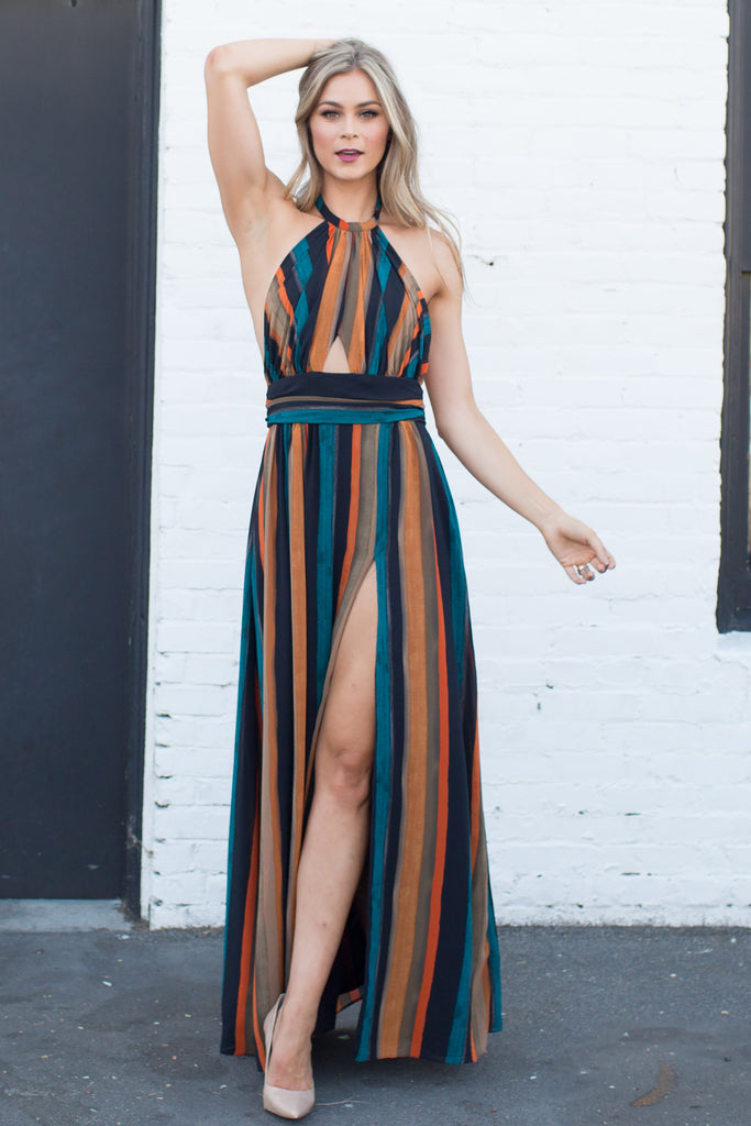 PRE-ORDER: ENCORE ME STRIPED HALTER DRESS