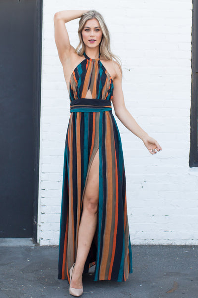 ENCORE ME STRIPED HALTER DRESS