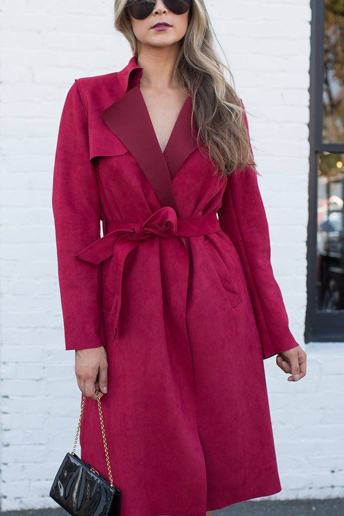 UPTOWN GIRL RED TRENCH COAT
