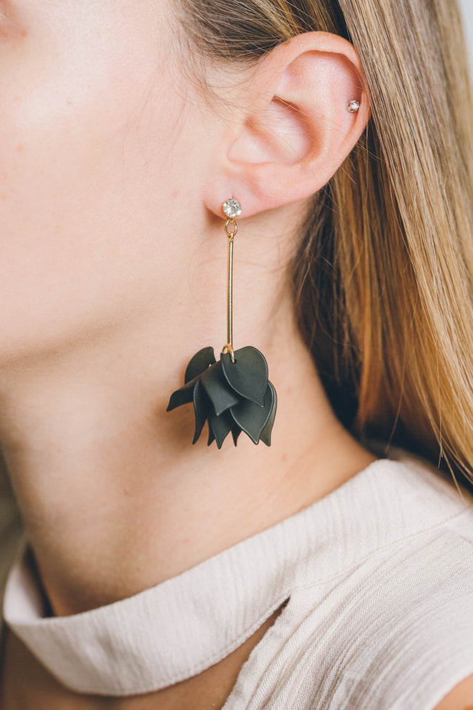 FOREST GREEN LILY PETAL EARRINGS