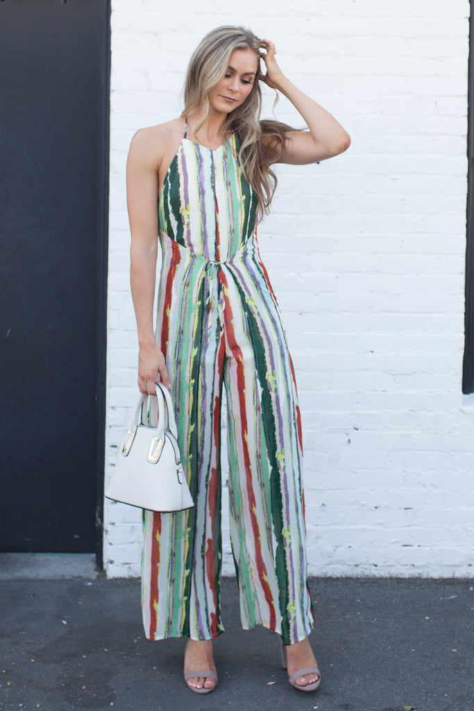 MULTI COLOR STRIPED SEXY JUMPSUIT