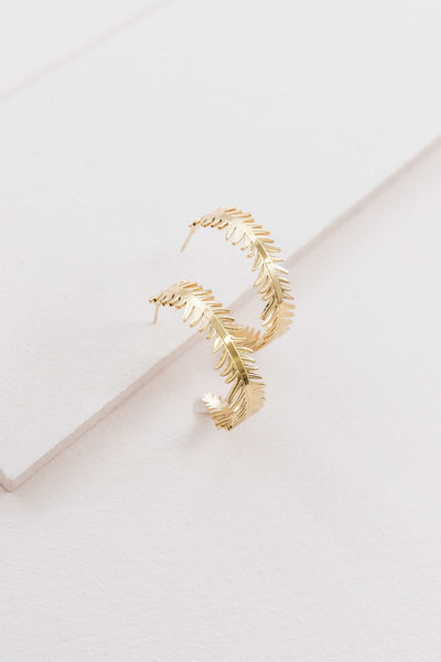 GOLDEN LEAF WREATCH HOOPS (14K)