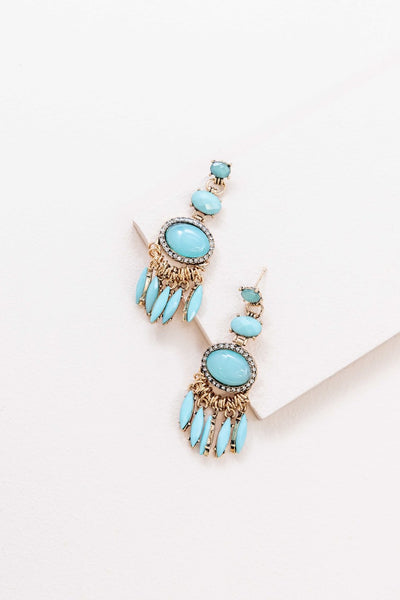 TRENDY TORQUOISE DROP EARRINGS