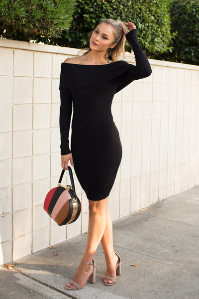 PRE-ORDER: OFF THE SHOULDER CHIC BLACK DRESS