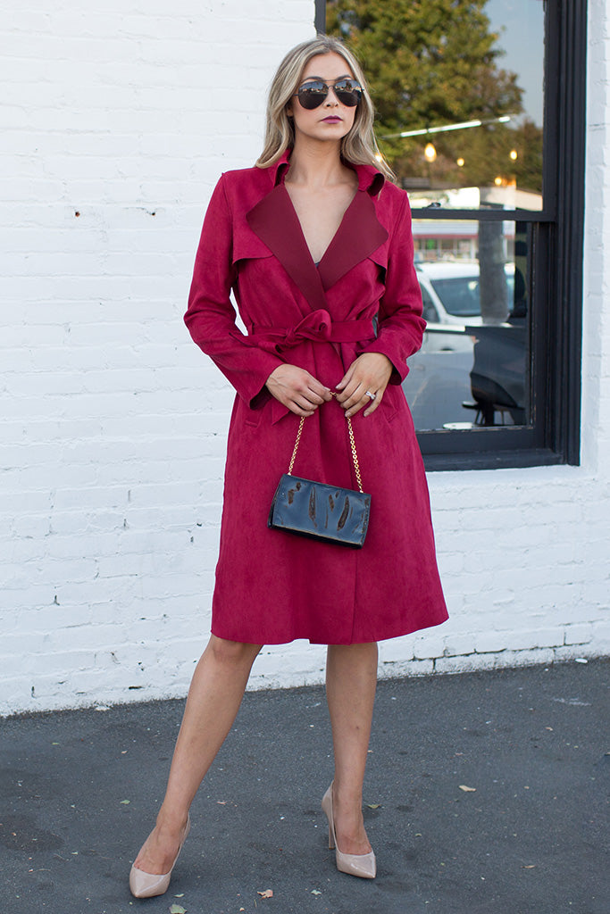 PRE-ORDER: UPTOWN GIRL RED TRENCH COAT