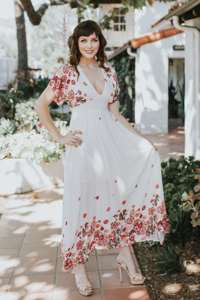 PASSIONATE HEART BLUSH MAXI DRESS