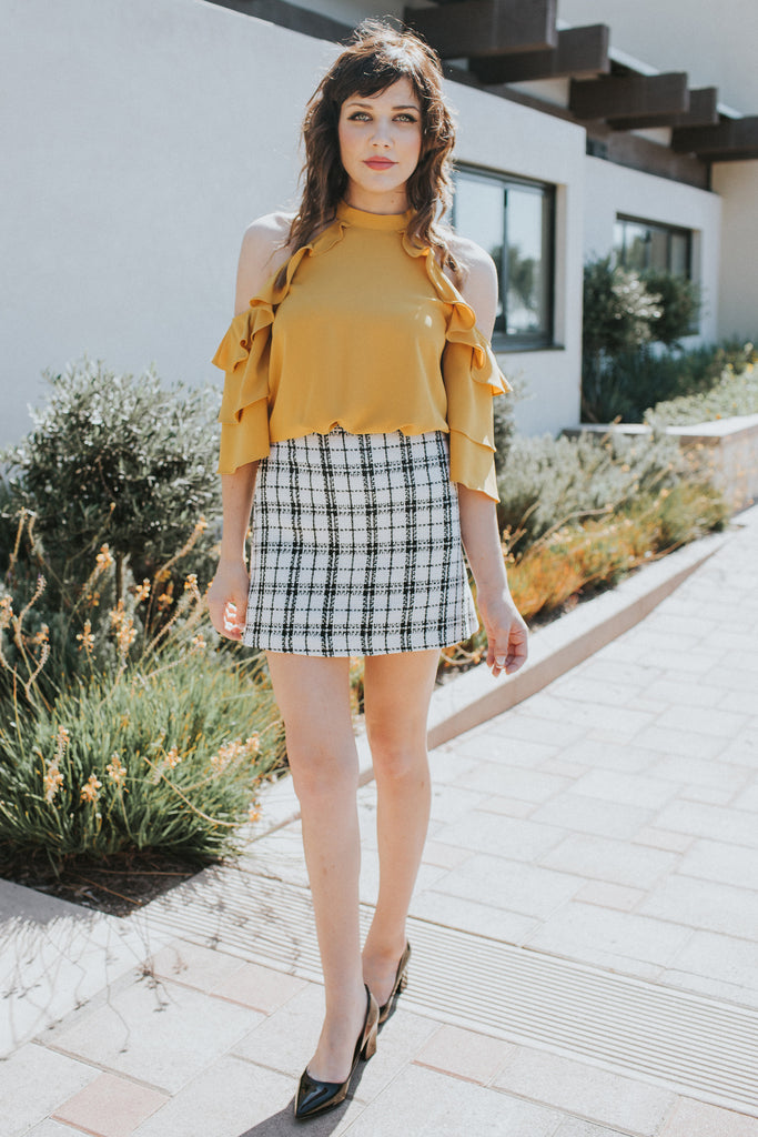 ITS A WONDERLAND PLAID WHITE SKIRT