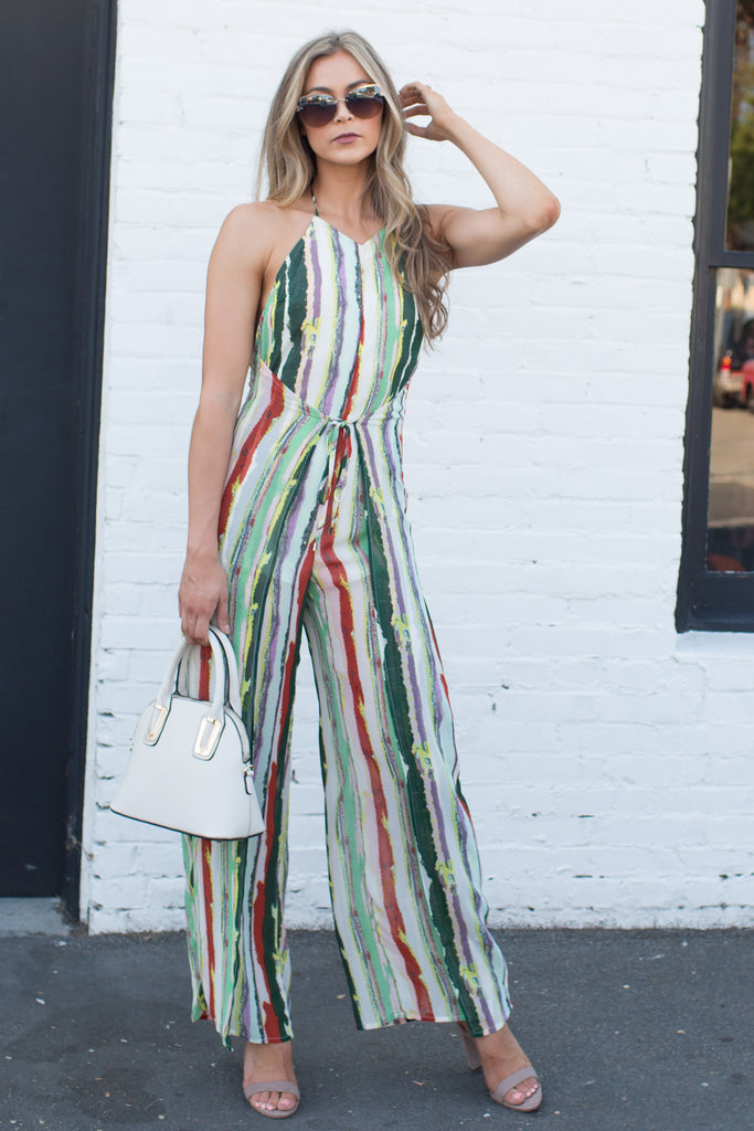 PRE-ORDER: MULTI COLOR STRIPED SEXY JUMPSUIT