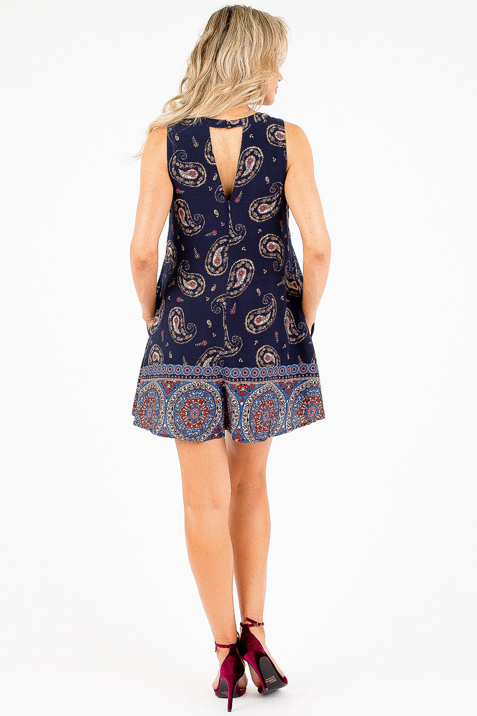 Multi-Color Paisley Printed Zoe Romper