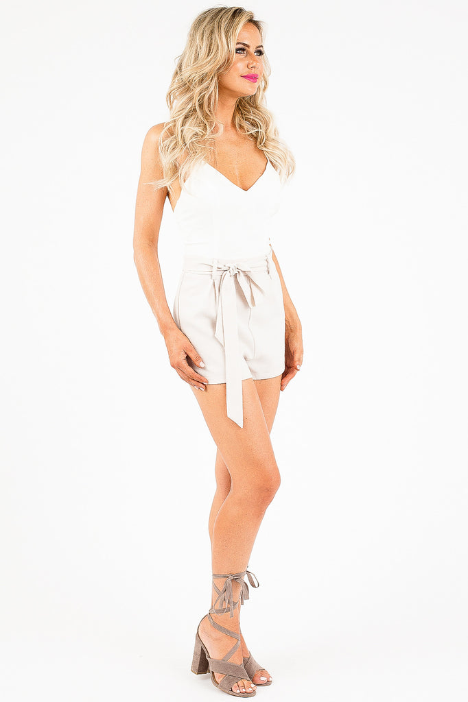 White and Tan Talia Romper