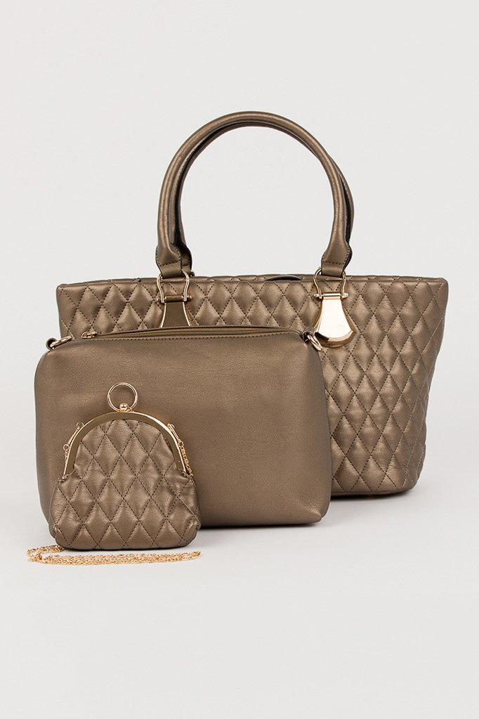 Bronze Quilted Blair Handbag