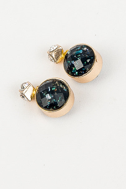 Gold and Dark Navy Speckle Becky Earrings