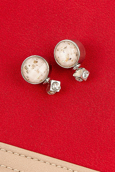 Silver and Off White Stella Stud Earrings