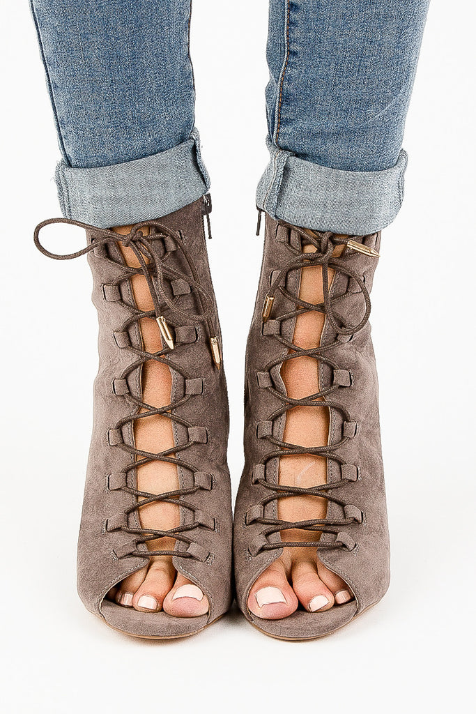 Grey Tie Up Gloria Heeled Booties