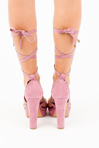 Rosy Mauve Angelina Lace Up Heels