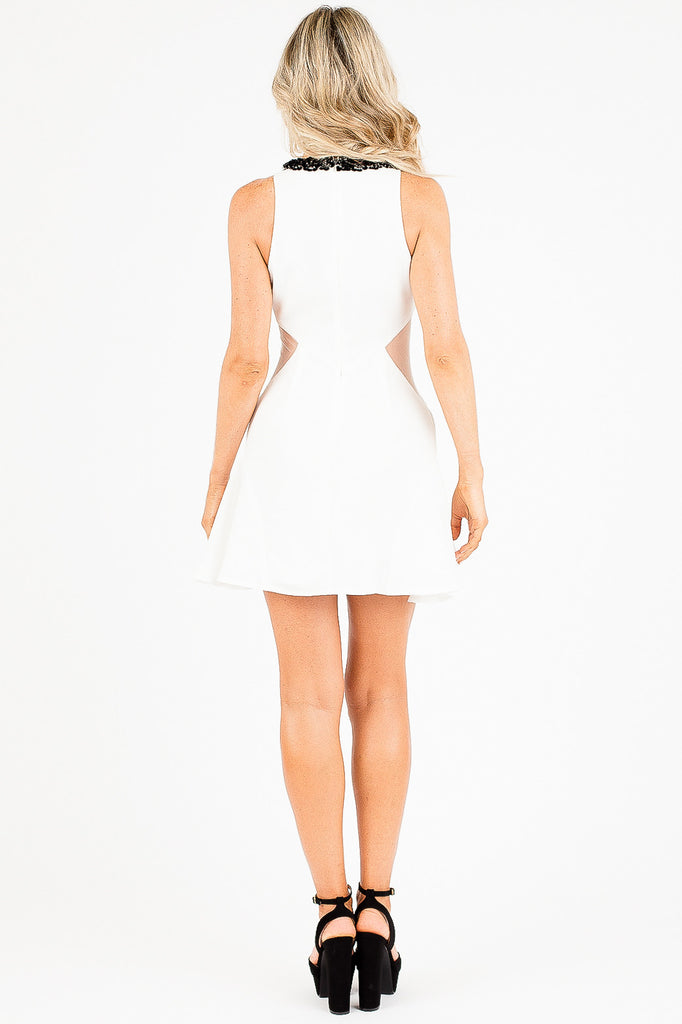 White Jeweled Adira Dress