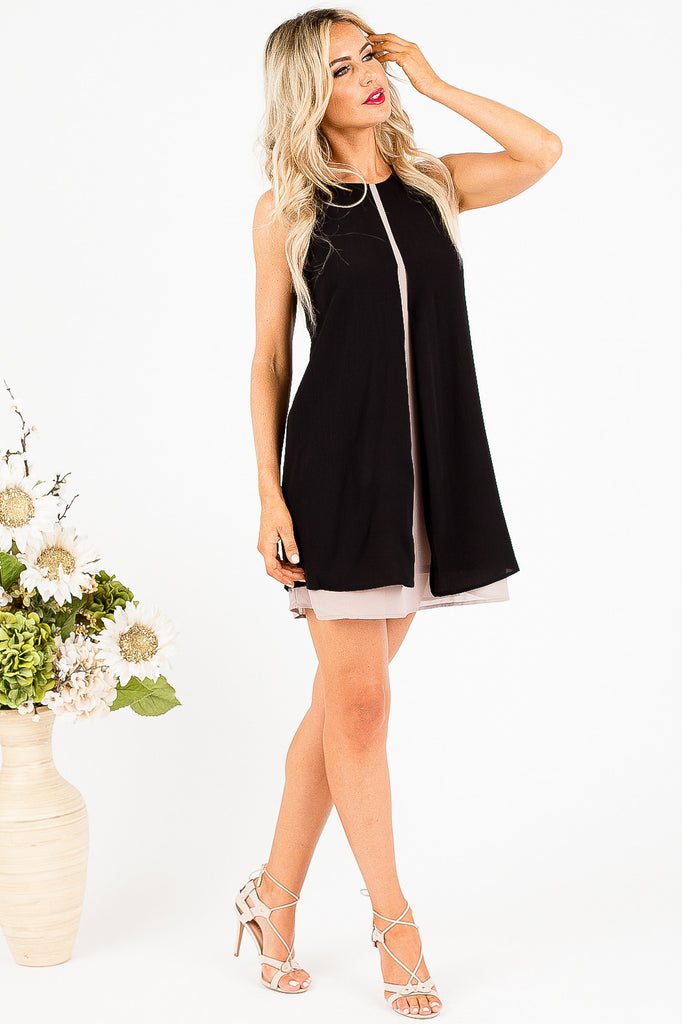 Black and Taupe Tanya Dress