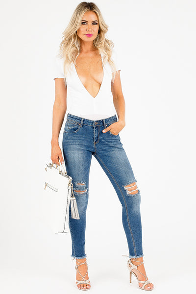 Distressed and Frayed Dariela Jeans