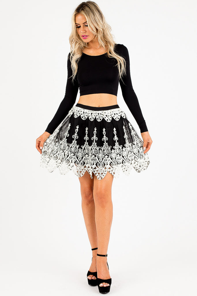 Black and White Embroidered Marissa Skirt