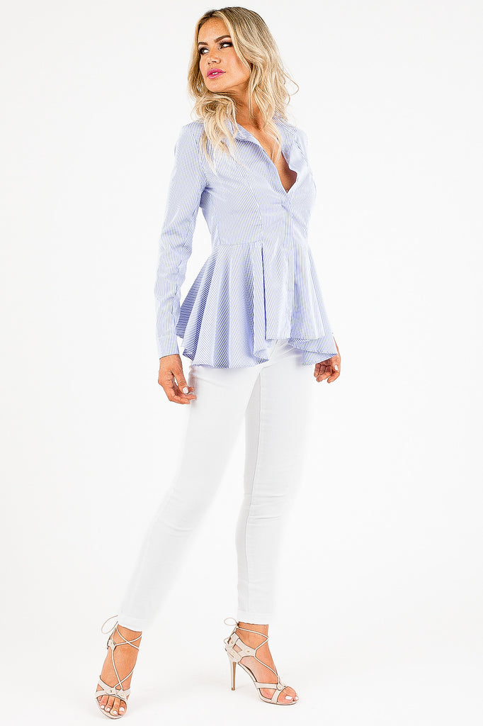 Sky Blue and White Striped Fae Flare Top