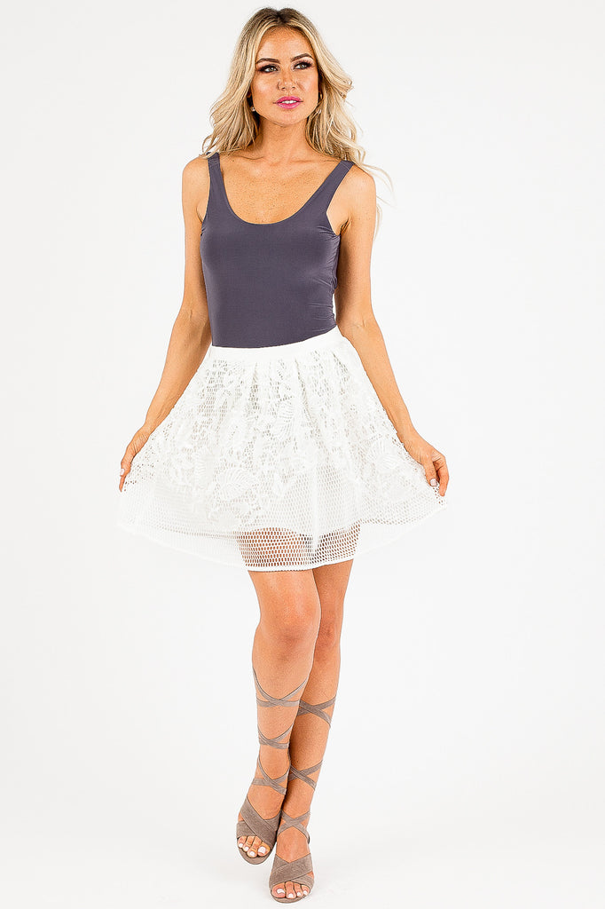 White Sequin Elizabella Mesh Skirt