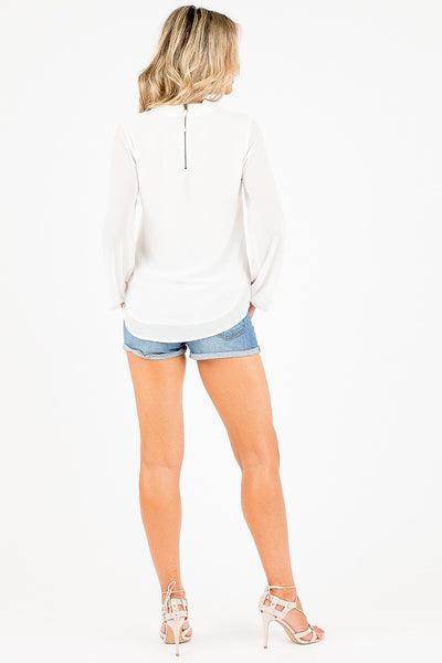 White Long Sleeve Davina Top