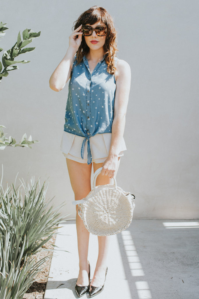 STARS AND DENIM WRAP TOP