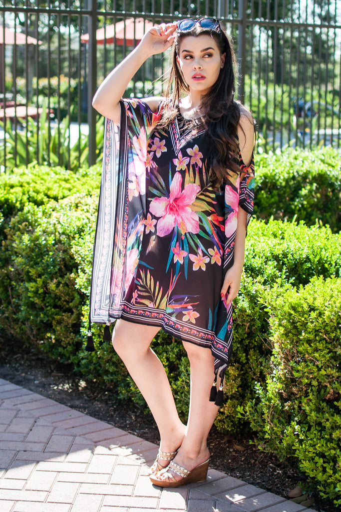 DAYS IN THE SUN BLACK FLORAL COVER-UP