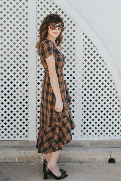 PLAID WITH MY HEART NAVY & YELLOW DRESS