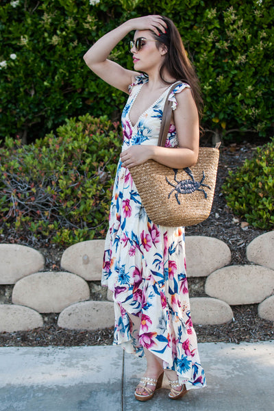 LOST IN PARADISE BEIGE FLORAL DRESS