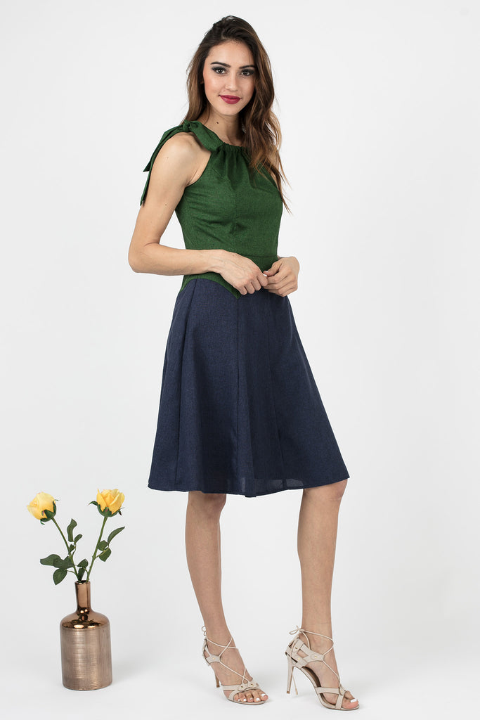 Forest Green and Navy Tie Dress