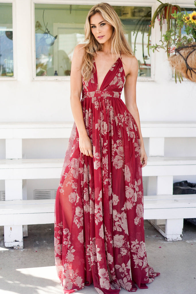 PRE-ORDER: ROSE RED FLORAL PRINT DRESS