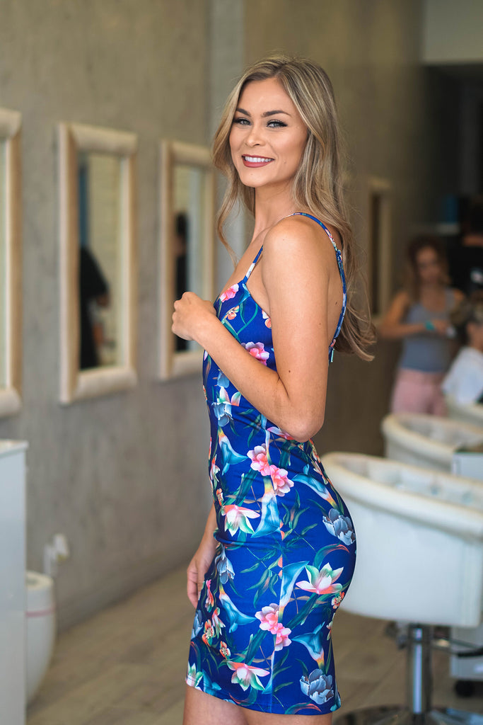 Tropical Print Blue Blair Dress