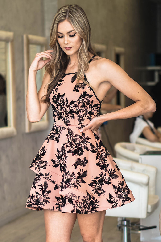 Black and Peach Priscilla Dress