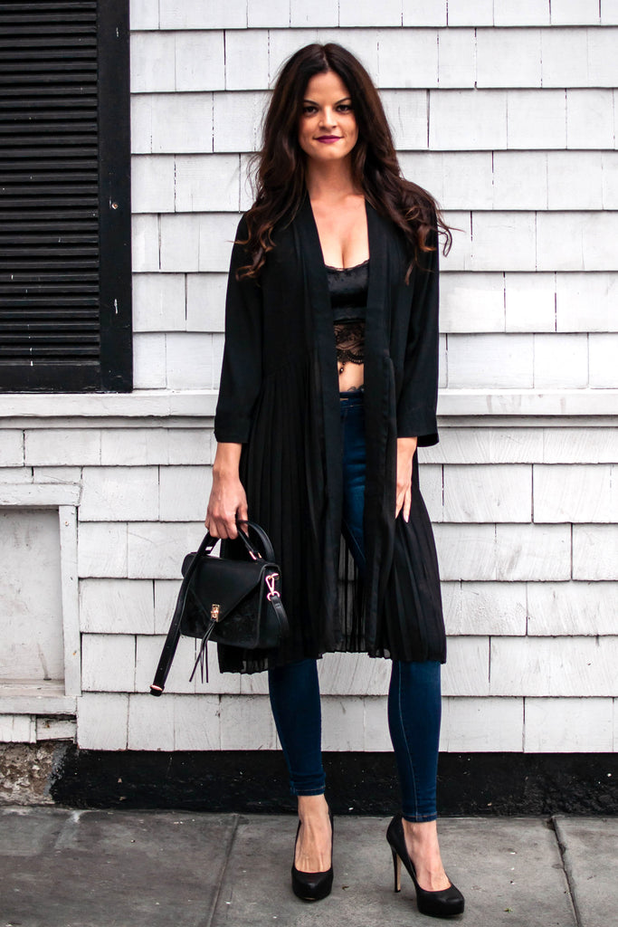 FASHIONISTA PLEATED BLACK DUSTER
