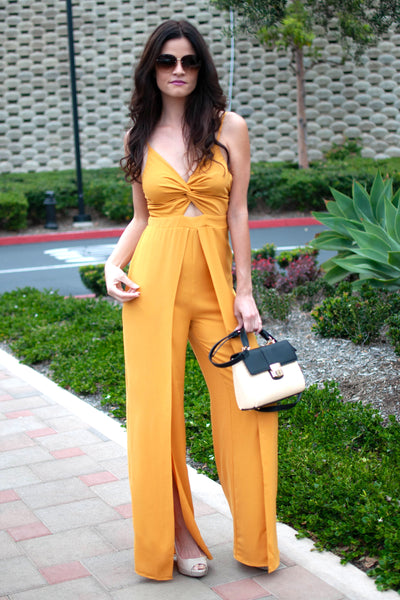 GOLDEN MOMENTS OF LIFE MUSTARD JUMPSUIT
