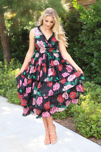LOVE AND FASHION FLORAL PRINT DRESS