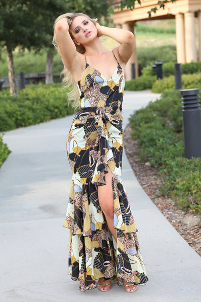 EXCLUSIVE DESIGN LEOPARD CHAIN MAXI DRESS