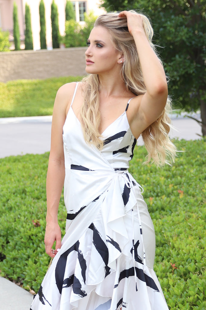 MY AMORE WHITE RUFFLED WRAP DRESS